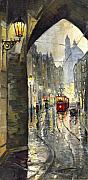 Old Tram Painting Framed Prints - Prague Mostecka street Framed Print by Yuriy  Shevchuk