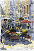 Streetscape Painting Posters - Prague Mustek First Heat Poster by Yuriy  Shevchuk