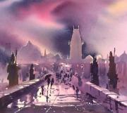 Charles Bridge Painting Posters - Prague Night Poster by Brigitte Hayden