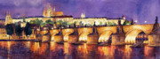 Old Painting Posters - Prague Night Panorama Charles Bridge  Poster by Yuriy  Shevchuk