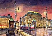 Prague Posters - Prague  Night Tram National Theatre Poster by Yuriy  Shevchuk