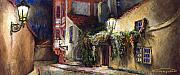 Featured Pastels Prints - Prague Novy Svet Kapucinska str Print by Yuriy  Shevchuk