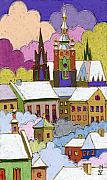 Landscapes Posters - Prague Old Roofs Prague Castle Winter Poster by Yuriy  Shevchuk