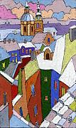 Pastel Posters - Prague Old Roofs Winter Poster by Yuriy  Shevchuk