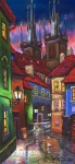 House Pastels Prints - Prague Old Street 01 Print by Yuriy  Shevchuk