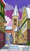 Pastel Posters - Prague Old Street Jilska Winter Poster by Yuriy  Shevchuk
