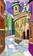 Pastel Prints - Prague Old Street Karlova Winter Print by Yuriy  Shevchuk