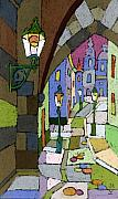 Pastel Framed Prints - Prague Old Street Mostecka Framed Print by Yuriy  Shevchuk