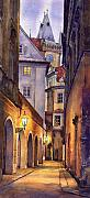 Watercolor Framed Prints - Prague Old Street  Framed Print by Yuriy  Shevchuk