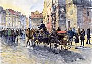Hall Painting Prints - Prague Old Town Hall and Astronomical Clock Print by Yuriy  Shevchuk
