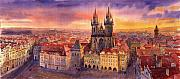 Watercolour Prints - Prague Old Town Square 02 Print by Yuriy  Shevchuk