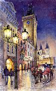 Watercolour Prints - Prague Old Town Square 3 Print by Yuriy  Shevchuk