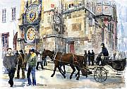 Czech Republic Paintings - Prague Old Town Square Astronomical Clock or Prague Orloj  by Yuriy  Shevchuk