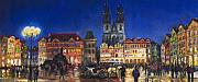 Architecture Pastels Metal Prints - Prague Old Town Square Night Light Metal Print by Yuriy  Shevchuk