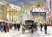 Prague Painting Metal Prints - Prague Old Town Square Winter Metal Print by Yuriy  Shevchuk