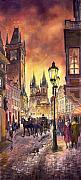 Watercolour Painting Posters - Prague Old Town Squere Poster by Yuriy  Shevchuk