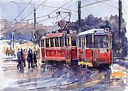 Watercolour Painting Metal Prints - Prague Old Tram 01 Metal Print by Yuriy  Shevchuk