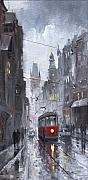 Rainy Street Painting Acrylic Prints - Prague Old Tram 03 Acrylic Print by Yuriy  Shevchuk
