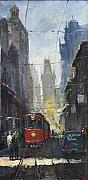 Rainy Street Painting Originals - Prague Old Tram 05 by Yuriy  Shevchuk