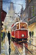 Night Painting Posters - Prague Old Tram 07 Poster by Yuriy  Shevchuk
