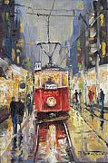 Night Light Prints - Prague Old Tram 08 Print by Yuriy  Shevchuk