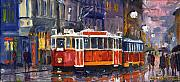 Night Painting Posters - Prague Old Tram 09 Poster by Yuriy  Shevchuk
