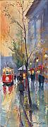 Night Painting Posters - Prague Old Tram Vaclavske Square Poster by Yuriy  Shevchuk