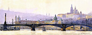Watercolor Framed Prints - Prague Panorama Cechuv Bridge variant Framed Print by Yuriy  Shevchuk
