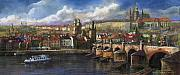 Old Pastels Prints - Prague Panorama Charles Bridge Prague Castle Print by Yuriy  Shevchuk