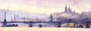 Watercolour Prints - Prague Panorama Chehuv Bridge Print by Yuriy  Shevchuk
