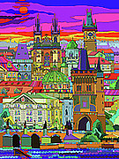 Europe Mixed Media - Prague Panorama Old Town by Yuriy  Shevchuk