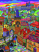 Featured Mixed Media - Prague Panorama with Charles Bridge by Yuriy  Shevchuk