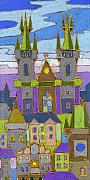 Prague Pastels Prints - Prague Panorama Print by Yuriy  Shevchuk