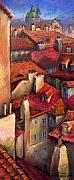 Buildings Tapestries Textiles Originals - Prague Roofs by Yuriy  Shevchuk