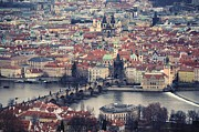 Aerial Posters - Prague Skyline Poster by Piero Damiani