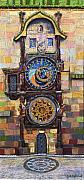 Astronomical Clock Acrylic Prints - Prague The Horologue at OldTownHall Acrylic Print by Yuriy  Shevchuk