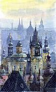Buildings Painting Posters - Prague Towers Poster by Yuriy  Shevchuk