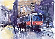 Watercolour Painting Metal Prints - Prague Tram 02 Metal Print by Yuriy  Shevchuk