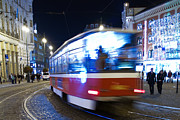 Blur Prints - Prague tram Print by Stylianos Kleanthous