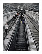 Escalator Pastels Prints - Prague Underground Print by Barry Rothstein