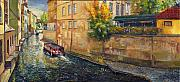 Landscape Oil Framed Prints - Prague Venice Chertovka 2 Framed Print by Yuriy  Shevchuk