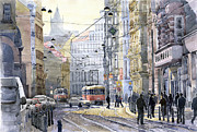 Old Tram Painting Framed Prints - Prague Vodickova str Framed Print by Yuriy  Shevchuk