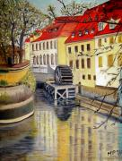 Prague Painting Framed Prints - Prague Watermill Framed Print by Madeleine Prochazka