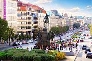 Prague Digital Art Framed Prints - Prague Wenceslas Square Framed Print by Evgeny Ivanov