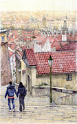 Watercolor  Paintings - Prague Zamecky Schody Castle Steps by Yuriy  Shevchuk