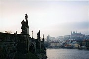 St Charles Bridge Framed Prints - Pragues Charles Bridge in Winter Framed Print by Kelsey Horne