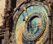 Czech Republic Digital Art Prints - Praha Orloj Print by Shawn Wallwork