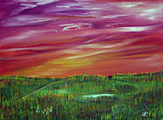 Prairie Sunset Paintings - Prairie Dreams in the Fall by James Bryron Love