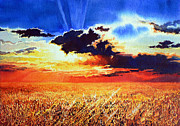 Wheat Field Sunset Print Posters - Prairie Gold Poster by Hanne Lore Koehler