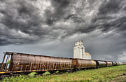 Storage Digital Art Posters - Prairie Grain Elevator Poster by Mark Duffy